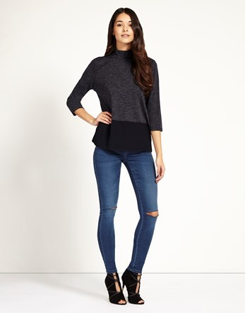 Super Skinny Split Knee Jeans - style: skinny leg; length: standard; pattern: plain; pocket detail: traditional 5 pocket; waist: mid/regular rise; predominant colour: denim; occasions: casual; fibres: cotton - stretch; texture group: denim; pattern type: fabric; jeans detail: rips; season: s/s 2016; wardrobe: basic