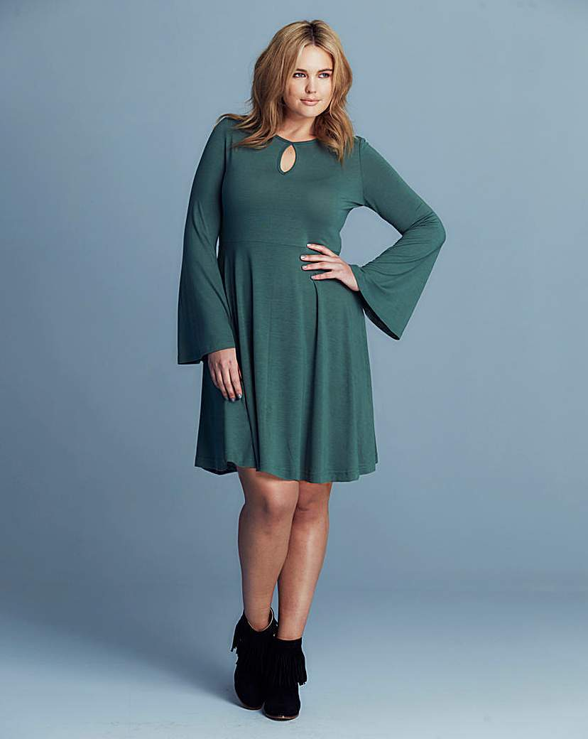 Alice & You Keyhole Skater Dress - sleeve style: angel/waterfall; pattern: plain; predominant colour: teal; occasions: evening, creative work; length: just above the knee; fit: fitted at waist & bust; style: fit & flare; neckline: peep hole neckline; fibres: polyester/polyamide - stretch; hip detail: soft pleats at hip/draping at hip/flared at hip; sleeve length: long sleeve; pattern type: fabric; texture group: jersey - stretchy/drapey; season: s/s 2016; wardrobe: highlight