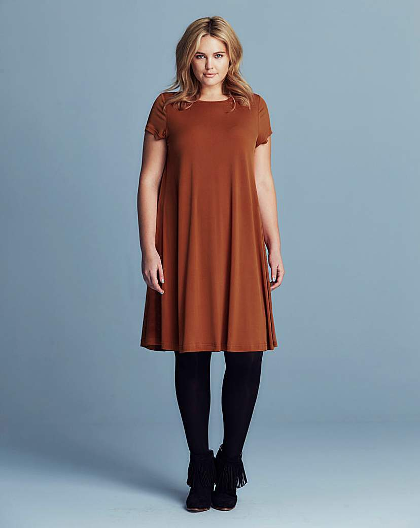 Alice & You A Line Dress - style: smock; neckline: round neck; fit: loose; pattern: plain; predominant colour: terracotta; occasions: casual, creative work; length: on the knee; fibres: polyester/polyamide - stretch; hip detail: soft pleats at hip/draping at hip/flared at hip; sleeve length: short sleeve; sleeve style: standard; pattern type: fabric; texture group: jersey - stretchy/drapey; season: s/s 2016; wardrobe: highlight