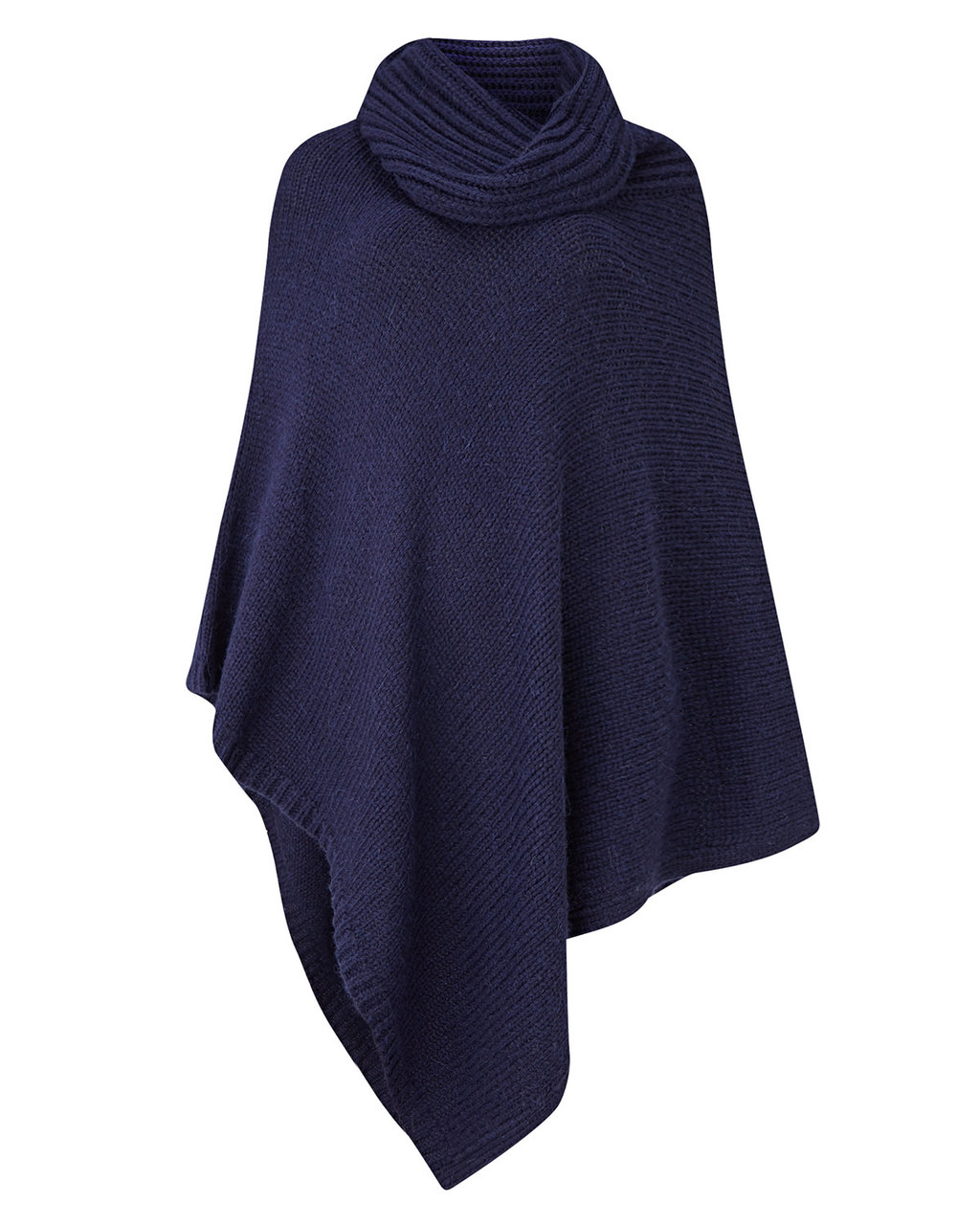 Cashel Poncho - pattern: plain; length: below the bottom; neckline: roll neck; style: poncho; predominant colour: navy; occasions: casual, creative work; fibres: wool - mix; fit: loose; sleeve length: long sleeve; texture group: knits/crochet; pattern type: knitted - fine stitch; sleeve style: cape/poncho sleeve; season: s/s 2016; wardrobe: highlight; embellishment: contrast fabric; embellishment location: bust