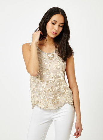 Womens Premium Embellished Sequin Shell Top, Nude - neckline: round neck; pattern: plain; sleeve style: sleeveless; predominant colour: ivory/cream; occasions: evening; length: standard; style: top; fibres: polyester/polyamide - 100%; fit: body skimming; sleeve length: sleeveless; texture group: sheer fabrics/chiffon/organza etc.; pattern type: fabric; pattern size: standard; season: s/s 2016; wardrobe: event