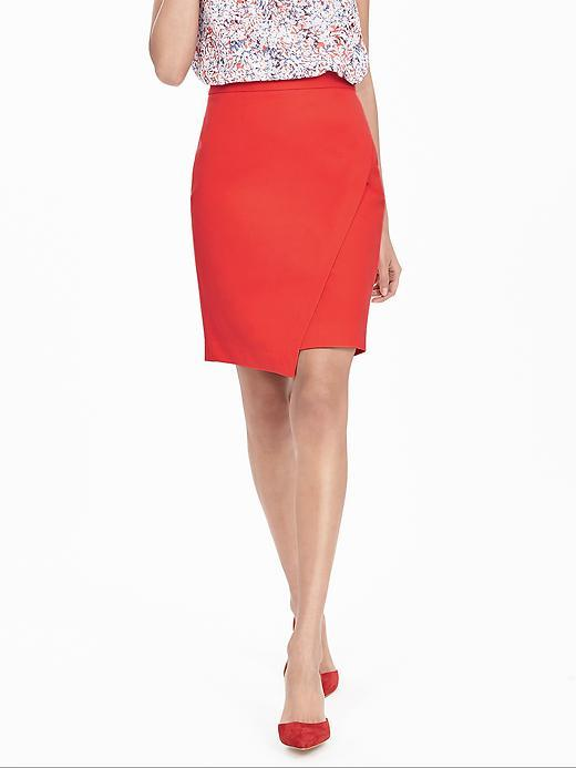 Bi Stretch Crossover Pencil Skirt Fire Coral - pattern: plain; style: pencil; fit: tailored/fitted; waist: mid/regular rise; predominant colour: bright orange; occasions: evening; length: just above the knee; fibres: cotton - stretch; pattern type: fabric; texture group: other - light to midweight; season: s/s 2016; wardrobe: event
