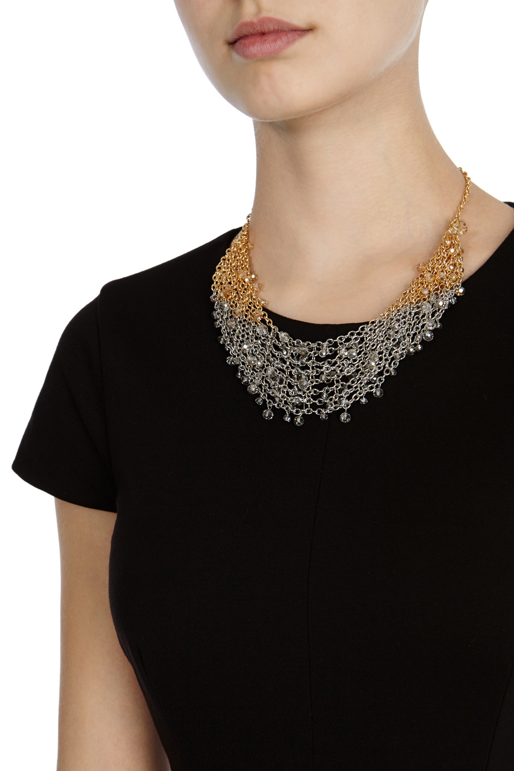 Althea Wide Statement Necklace - predominant colour: silver; occasions: evening, creative work; length: short; size: standard; material: chain/metal; finish: metallic; style: bib/statement; season: s/s 2016