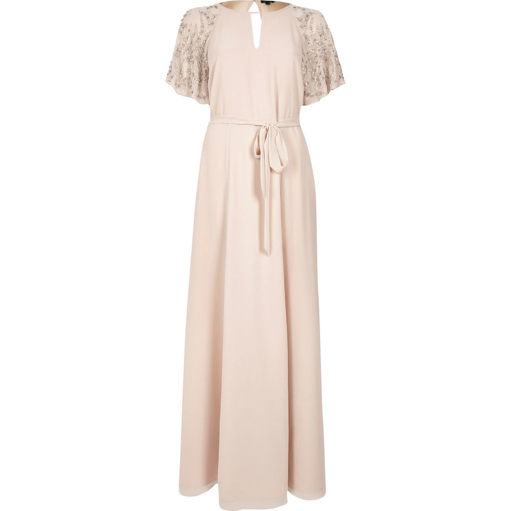Womens Pink Embellished Maxi Dress - pattern: plain; style: maxi dress; length: ankle length; waist detail: belted waist/tie at waist/drawstring; predominant colour: blush; occasions: evening; fit: body skimming; neckline: peep hole neckline; fibres: polyester/polyamide - 100%; sleeve length: short sleeve; sleeve style: standard; pattern type: fabric; texture group: other - light to midweight; embellishment: sequins; season: s/s 2016; wardrobe: event
