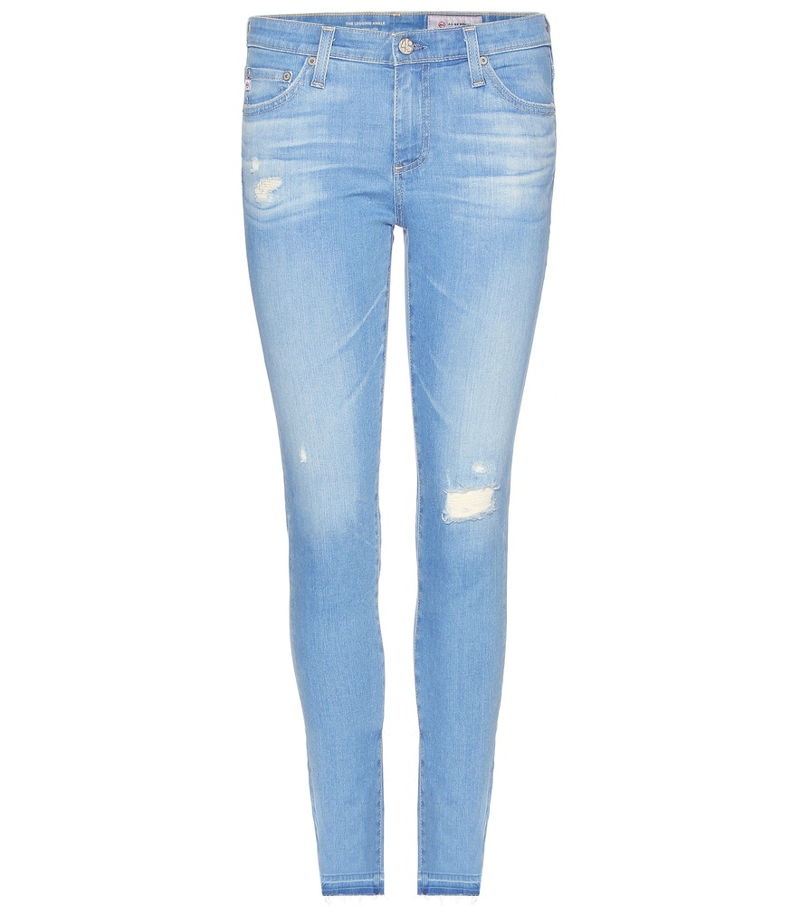 Cropped Skinny Jeans - style: skinny leg; pattern: plain; pocket detail: traditional 5 pocket; waist: mid/regular rise; predominant colour: pale blue; occasions: casual; length: ankle length; fibres: cotton - stretch; jeans detail: whiskering; texture group: denim; pattern type: fabric; season: s/s 2016; wardrobe: basic