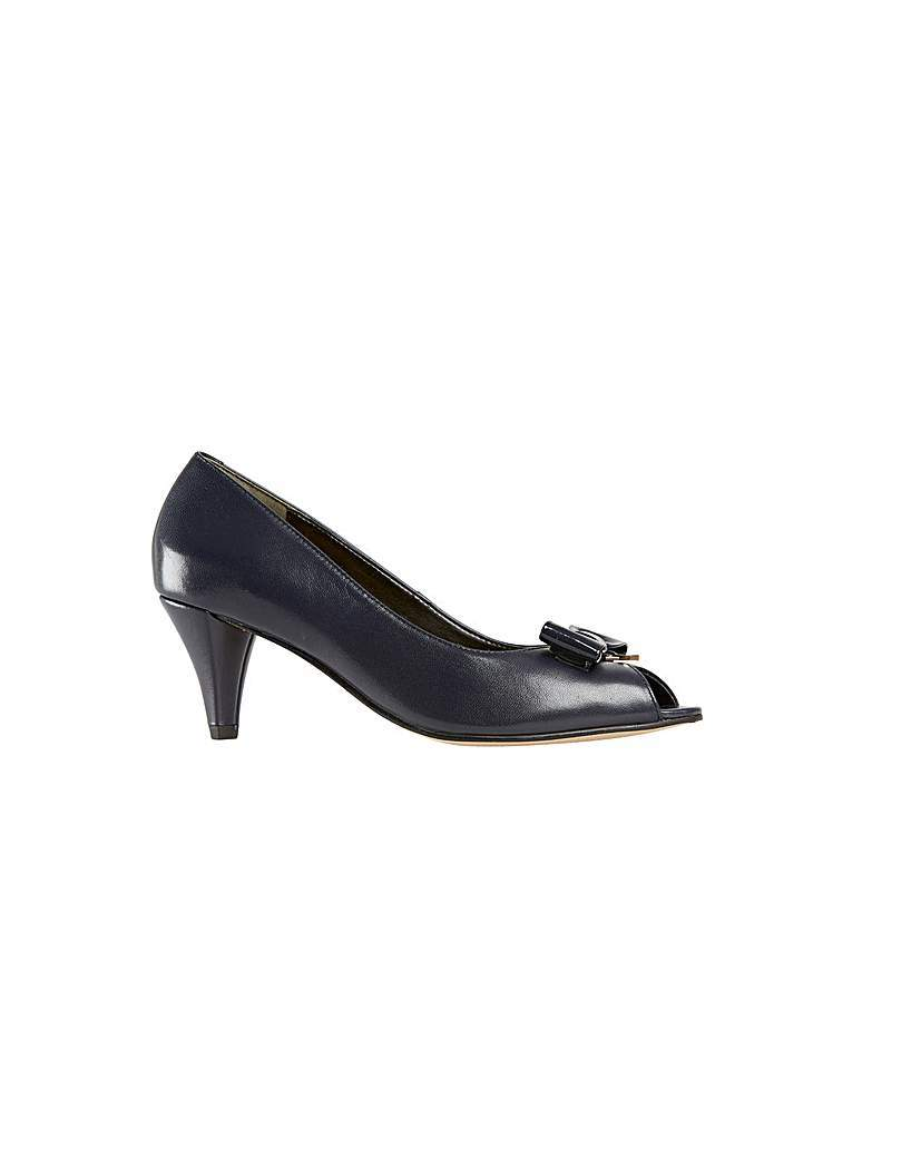 Hawkesbury Marine Navy Shoe - predominant colour: black; occasions: evening; material: leather; heel height: high; heel: stiletto; toe: open toe/peeptoe; style: courts; finish: patent; pattern: plain; embellishment: bow; season: s/s 2016; wardrobe: event