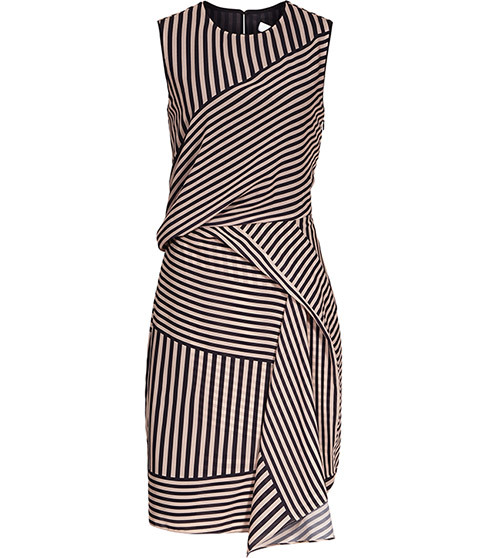 Sienna Stripe Print Dress - style: shift; sleeve style: sleeveless; pattern: striped; secondary colour: stone; predominant colour: black; occasions: evening; length: just above the knee; fit: body skimming; fibres: polyester/polyamide - 100%; neckline: crew; sleeve length: sleeveless; pattern type: fabric; texture group: other - light to midweight; multicoloured: multicoloured; season: s/s 2016; trends: graphic stripes; wardrobe: event
