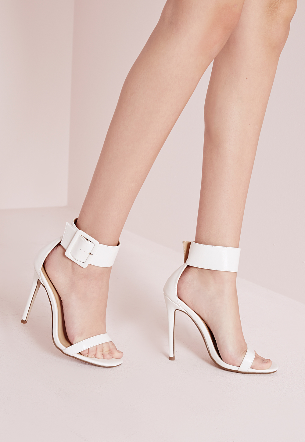 Buckle Trim Barely There Heeled Sandals White, White - predominant colour: white; occasions: evening, occasion; material: faux leather; heel height: high; embellishment: buckles; ankle detail: ankle strap; heel: stiletto; toe: open toe/peeptoe; style: standard; finish: plain; pattern: plain; season: s/s 2016; wardrobe: event