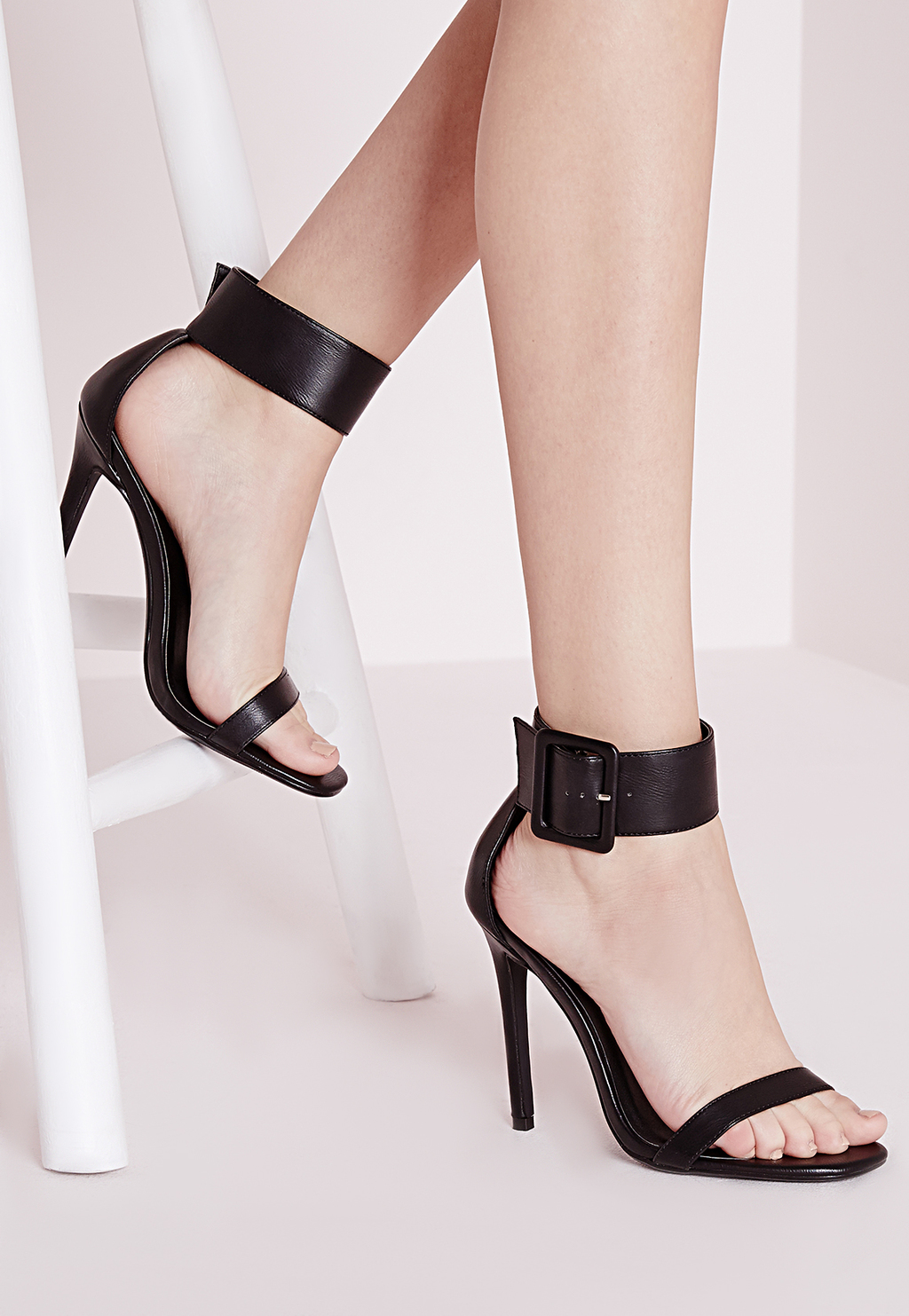 Buckle Trim Barely There Heeled Sandals Black, Black - predominant colour: black; occasions: evening, occasion; material: faux leather; heel height: high; embellishment: buckles; ankle detail: ankle strap; heel: stiletto; toe: open toe/peeptoe; style: standard; finish: plain; pattern: plain; season: s/s 2016