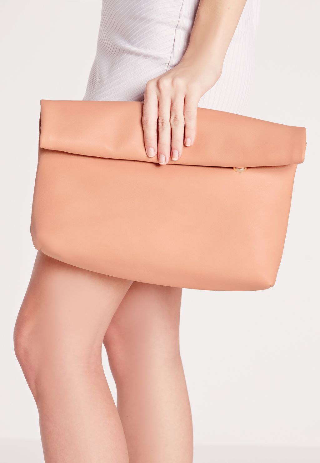 Roll Top Clutch Blush, Beige - predominant colour: nude; occasions: evening, occasion; type of pattern: standard; style: clutch; length: hand carry; size: standard; material: faux leather; pattern: plain; finish: plain; season: s/s 2016; wardrobe: event