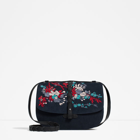 Embroidered Leather Cross Body Bag - secondary colour: true red; predominant colour: navy; occasions: casual; type of pattern: light; style: messenger; length: across body/long; size: small; material: leather; embellishment: embroidered; pattern: florals; finish: plain; multicoloured: multicoloured; season: s/s 2016; wardrobe: highlight