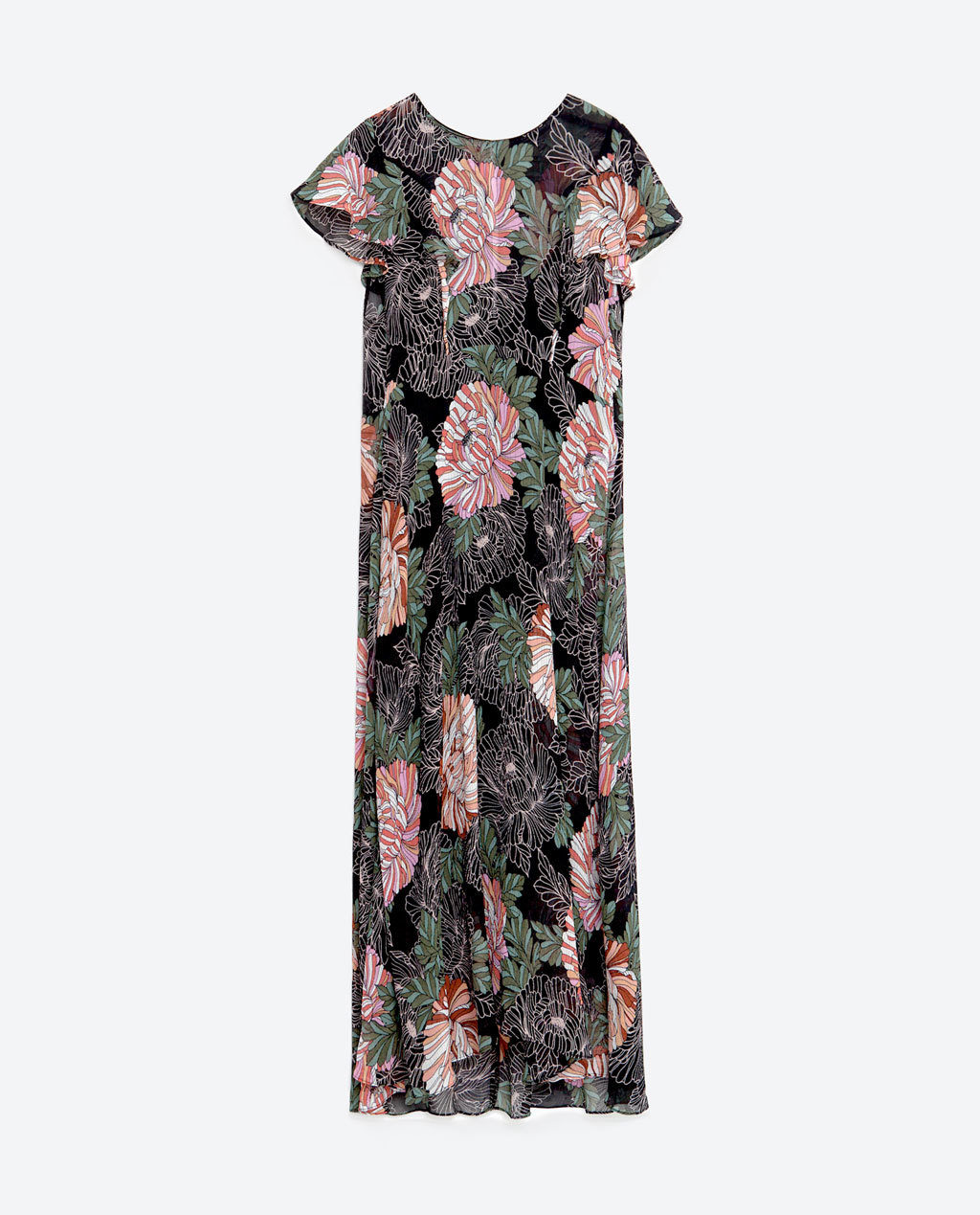 Printed Dress With Frills - length: calf length; secondary colour: pink; predominant colour: black; occasions: casual; fit: fitted at waist & bust; style: fit & flare; neckline: crew; sleeve length: short sleeve; sleeve style: standard; pattern type: fabric; pattern: florals; texture group: jersey - stretchy/drapey; fibres: viscose/rayon - mix; multicoloured: multicoloured; season: s/s 2016; wardrobe: highlight