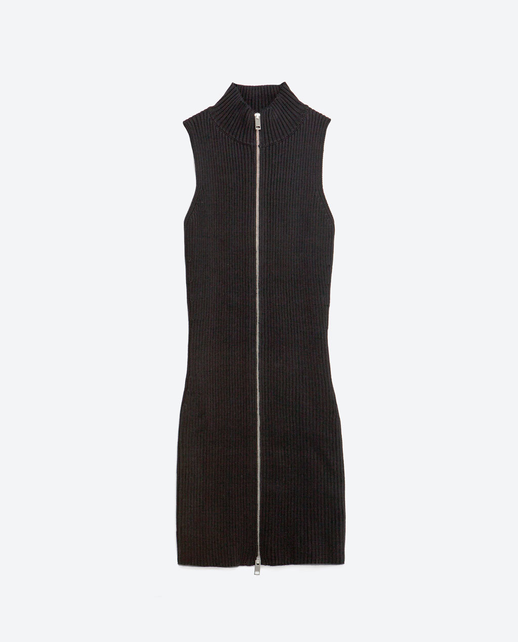 Front Zip Dress - length: mid thigh; fit: tight; pattern: plain; sleeve style: sleeveless; neckline: high neck; style: bodycon; predominant colour: black; occasions: evening; fibres: cotton - stretch; sleeve length: sleeveless; texture group: jersey - clingy; pattern type: fabric; season: s/s 2016; wardrobe: event