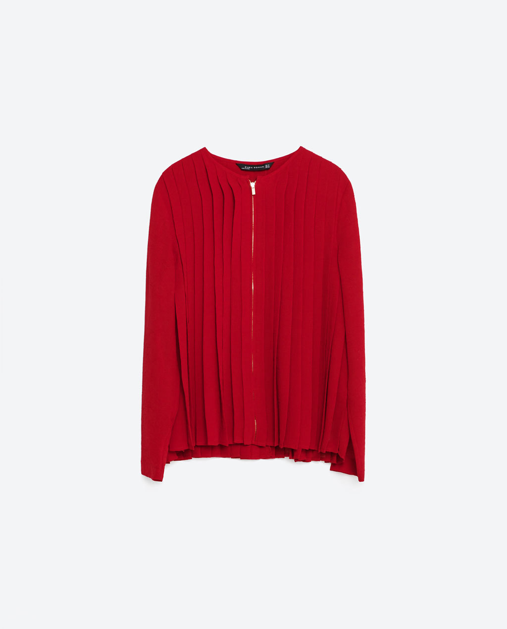 Fine Pleated Blouse - neckline: v-neck; pattern: plain; style: blouse; bust detail: subtle bust detail; predominant colour: true red; occasions: casual; length: standard; fibres: polyester/polyamide - 100%; fit: body skimming; sleeve length: long sleeve; sleeve style: standard; texture group: sheer fabrics/chiffon/organza etc.; pattern type: fabric; season: s/s 2016; wardrobe: highlight
