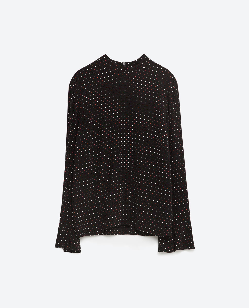 Printed Blouse - neckline: high neck; style: blouse; pattern: polka dot; secondary colour: white; predominant colour: black; occasions: casual; length: standard; fibres: viscose/rayon - 100%; fit: body skimming; sleeve length: long sleeve; sleeve style: standard; trends: monochrome; texture group: crepes; pattern type: fabric; season: s/s 2016; wardrobe: highlight