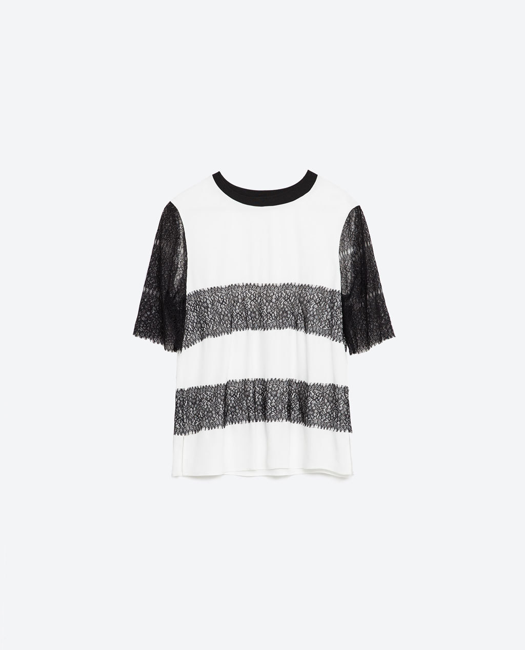 Top With Lace Sleeves - pattern: horizontal stripes; predominant colour: white; secondary colour: black; occasions: casual; length: standard; style: top; fibres: viscose/rayon - 100%; fit: loose; neckline: crew; sleeve length: short sleeve; sleeve style: standard; texture group: lace; pattern type: fabric; season: s/s 2016; wardrobe: highlight