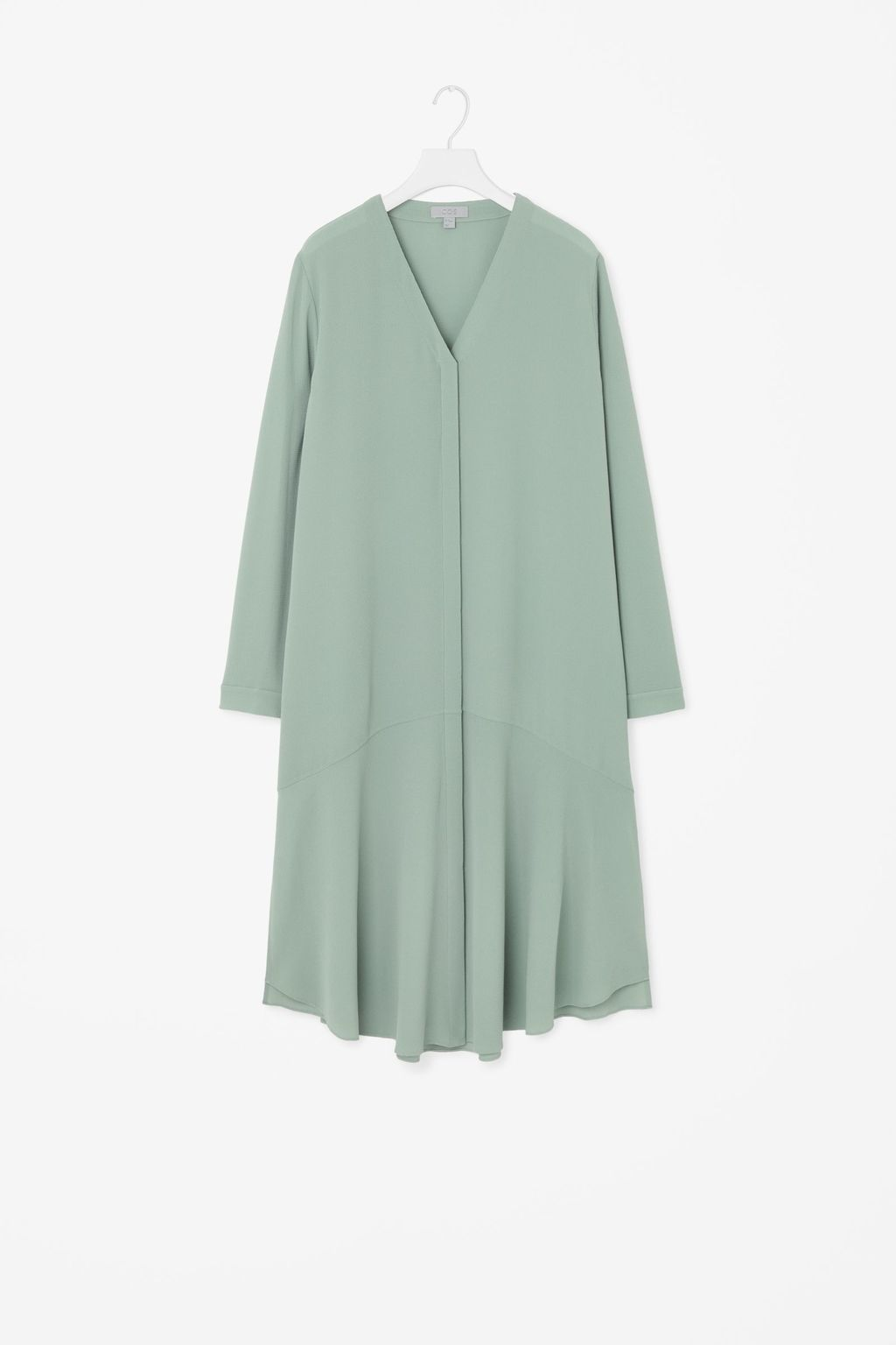 Shirt Dress With Slits - style: shift; length: calf length; neckline: v-neck; fit: loose; pattern: plain; predominant colour: pistachio; occasions: casual; fibres: polyester/polyamide - stretch; sleeve length: long sleeve; sleeve style: standard; texture group: sheer fabrics/chiffon/organza etc.; pattern type: fabric; season: s/s 2016; wardrobe: highlight