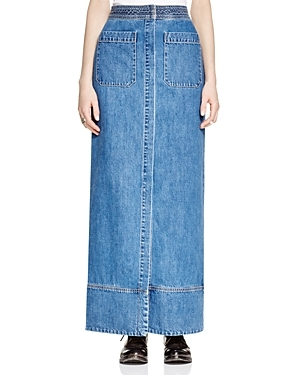 Just A Dream Denim Maxi Skirt - pattern: plain; length: ankle length; fit: body skimming; waist: mid/regular rise; predominant colour: denim; occasions: casual; style: maxi skirt; fibres: cotton - 100%; texture group: denim; pattern type: fabric; season: s/s 2016; wardrobe: basic