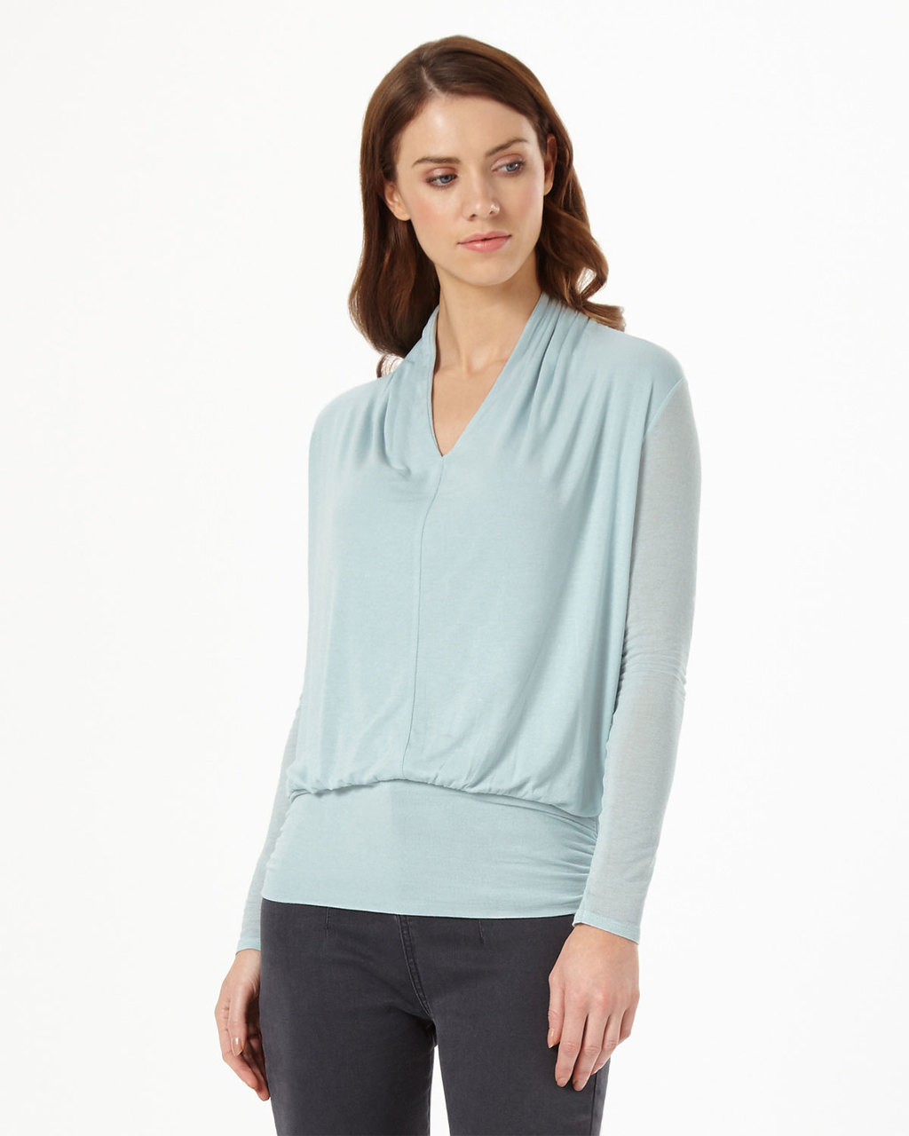 Gwyneth Top - neckline: v-neck; pattern: plain; hip detail: fitted at hip; predominant colour: pale blue; occasions: work; length: standard; style: top; fibres: polyester/polyamide - stretch; fit: body skimming; shoulder detail: flat/draping pleats/ruching/gathering at shoulder; sleeve length: long sleeve; sleeve style: standard; texture group: sheer fabrics/chiffon/organza etc.; pattern type: fabric; season: s/s 2016; wardrobe: highlight