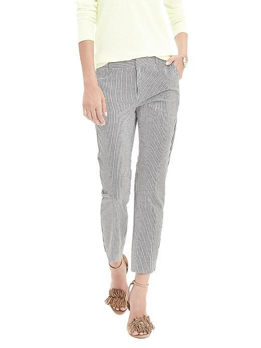 Avery Fit Seersucker Crop Gray Stripe - pattern: vertical stripes; waist: mid/regular rise; secondary colour: mid grey; predominant colour: light grey; occasions: casual, creative work; length: ankle length; fibres: cotton - 100%; fit: slim leg; pattern type: fabric; texture group: other - light to midweight; style: standard; pattern size: standard (bottom); season: s/s 2016; wardrobe: highlight