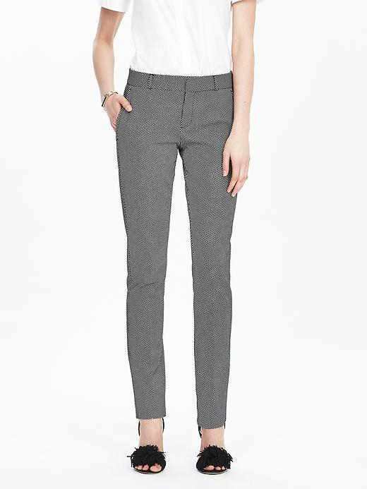 Ryan Fit Dot Slim Straight Pant Black Dot - length: standard; pattern: plain; waist: mid/regular rise; predominant colour: mid grey; occasions: casual, work, creative work; fibres: cotton - stretch; fit: slim leg; pattern type: fabric; texture group: woven light midweight; style: standard; pattern size: standard (bottom); season: s/s 2016