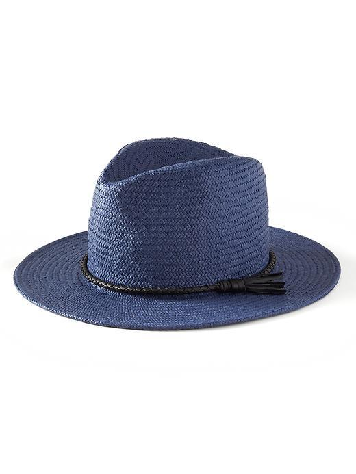 Wide Brim Straw Hat Preppy Navy - predominant colour: navy; type of pattern: standard; style: trilby; size: standard; material: felt; pattern: plain; occasions: holiday; season: s/s 2016