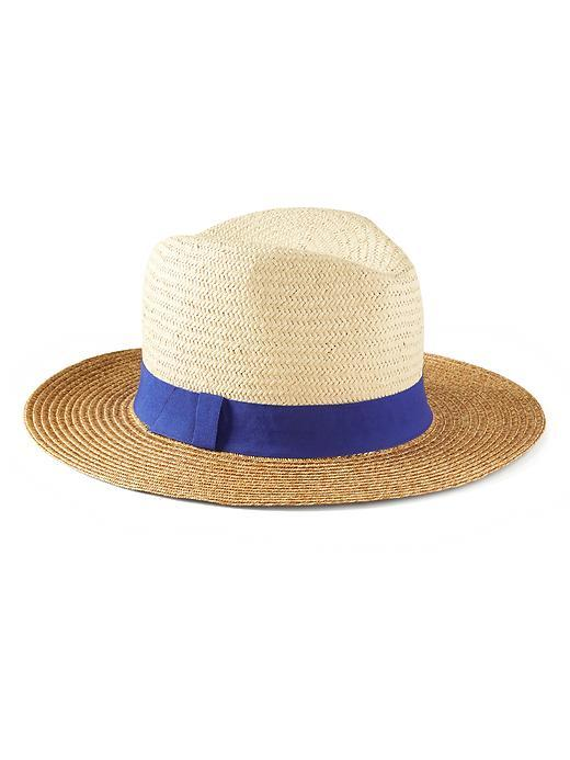 Colorblock Straw Hat Natural - secondary colour: royal blue; predominant colour: stone; type of pattern: light; style: panama; size: standard; material: macrame/raffia/straw; pattern: plain; occasions: holiday; season: s/s 2016; wardrobe: holiday
