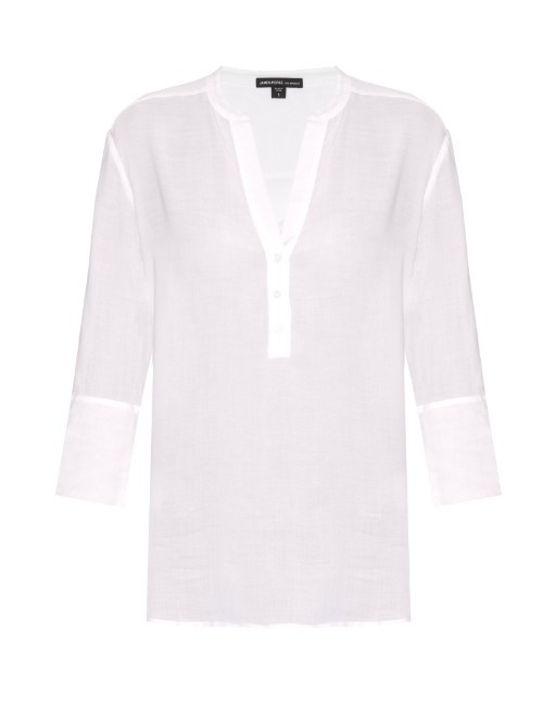 Lightweight V Neck Top - neckline: v-neck; pattern: plain; predominant colour: white; occasions: casual; length: standard; style: top; fibres: viscose/rayon - 100%; fit: body skimming; sleeve length: 3/4 length; sleeve style: standard; pattern type: fabric; texture group: other - light to midweight; season: s/s 2016; wardrobe: basic