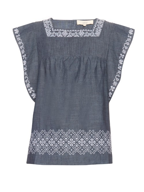 Elba Embroidered Cotton Top - neckline: high square neck; predominant colour: mid grey; secondary colour: light grey; occasions: casual; length: standard; style: top; fibres: cotton - 100%; fit: body skimming; sleeve length: short sleeve; sleeve style: standard; texture group: cotton feel fabrics; pattern type: fabric; pattern: patterned/print; embellishment: embroidered; multicoloured: multicoloured; season: s/s 2016; wardrobe: highlight