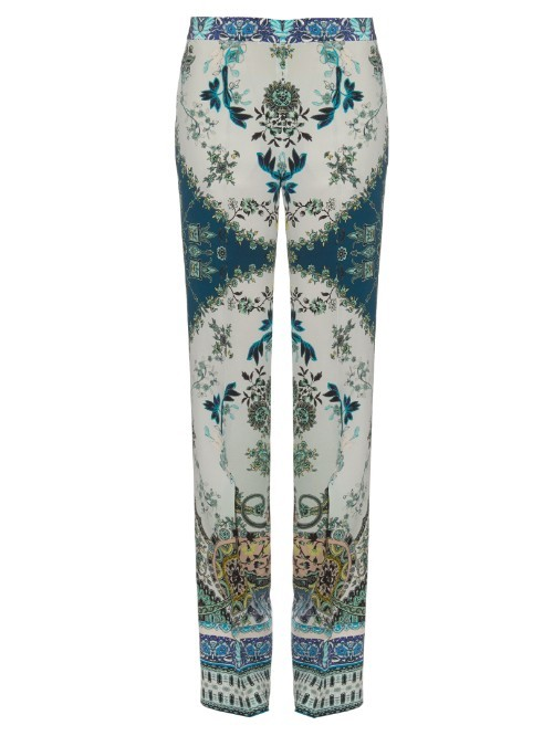 Paisley Print Silk Crepe Trousers - length: standard; waist detail: fitted waist; pattern: paisley; hip detail: draws attention to hips; waist: mid/regular rise; predominant colour: royal blue; occasions: evening, holiday; fibres: silk - 100%; texture group: silky - light; fit: straight leg; pattern type: fabric; style: standard; pattern size: standard (bottom); season: s/s 2016; wardrobe: highlight