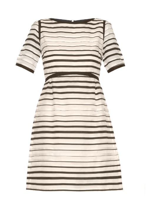 Becky Striped Organza Dress - pattern: horizontal stripes; predominant colour: ivory/cream; secondary colour: black; occasions: evening; length: just above the knee; fit: fitted at waist & bust; style: fit & flare; fibres: cotton - mix; neckline: crew; sleeve length: short sleeve; sleeve style: standard; texture group: sheer fabrics/chiffon/organza etc.; pattern type: fabric; pattern size: standard; season: s/s 2016; wardrobe: event