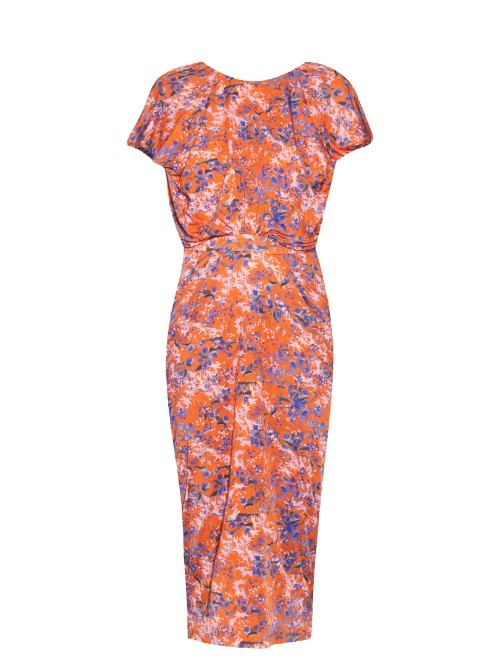 Apsara Chinoiserie Print Jersey Dress - style: shift; length: below the knee; neckline: round neck; sleeve style: capped; predominant colour: hot pink; secondary colour: coral; fit: body skimming; fibres: polyester/polyamide - stretch; occasions: occasion; sleeve length: short sleeve; texture group: jersey - clingy; pattern type: fabric; pattern size: standard; pattern: florals; multicoloured: multicoloured; season: s/s 2016; wardrobe: event