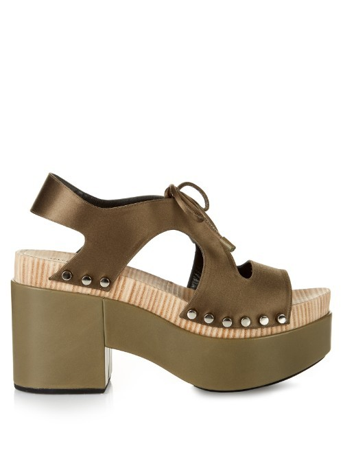 Cut Out Satin Platform Sandals - predominant colour: khaki; occasions: casual, creative work; material: fabric; heel height: high; embellishment: studs; heel: block; toe: open toe/peeptoe; style: strappy; finish: metallic; pattern: plain; shoe detail: platform; season: s/s 2016; wardrobe: highlight