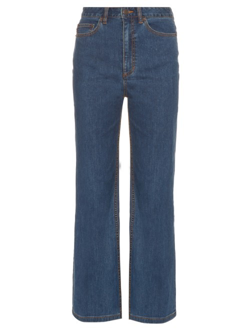 Wide Leg Cropped Jeans - style: straight leg; pattern: plain; waist: high rise; pocket detail: traditional 5 pocket; predominant colour: denim; occasions: casual; length: ankle length; fibres: cotton - stretch; texture group: denim; pattern type: fabric; season: s/s 2016