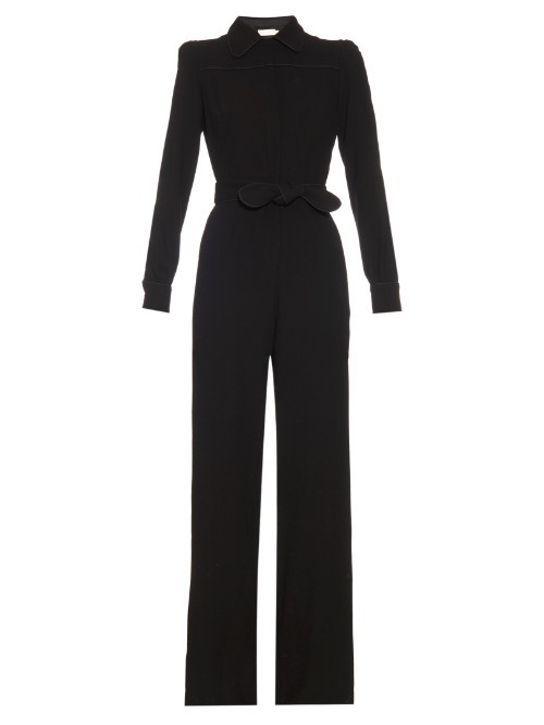 Bijoux Wool Jumpsuit - length: standard; neckline: shirt collar/peter pan/zip with opening; pattern: plain; waist detail: belted waist/tie at waist/drawstring; predominant colour: black; occasions: evening; fit: body skimming; fibres: wool - 100%; sleeve length: long sleeve; sleeve style: standard; style: jumpsuit; pattern type: fabric; texture group: woven light midweight; season: s/s 2016; wardrobe: event