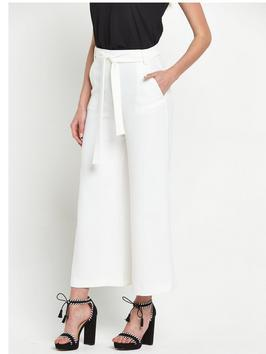 Arrow Crepe Tie Cropped Flared Trousers - pattern: plain; waist: high rise; predominant colour: white; occasions: evening, occasion, creative work; length: ankle length; fibres: polyester/polyamide - 100%; texture group: crepes; fit: wide leg; pattern type: fabric; style: standard; season: s/s 2016