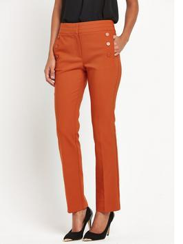 Button Front Straight Leg Trouser - pattern: plain; pocket detail: pockets at the sides; waist: mid/regular rise; predominant colour: terracotta; length: ankle length; fibres: polyester/polyamide - 100%; fit: straight leg; pattern type: fabric; texture group: other - light to midweight; style: standard; occasions: creative work; season: s/s 2016; wardrobe: highlight
