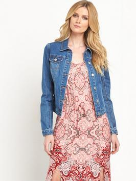 Denim Jacket - pattern: plain; style: denim; predominant colour: denim; occasions: casual; length: standard; fit: straight cut (boxy); fibres: cotton - stretch; collar: shirt collar/peter pan/zip with opening; sleeve length: long sleeve; sleeve style: standard; texture group: denim; collar break: high/illusion of break when open; pattern type: fabric; season: s/s 2016