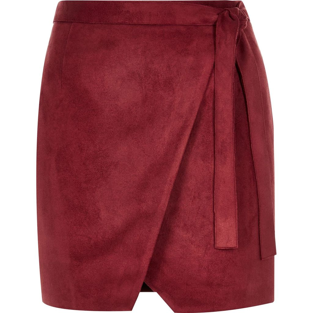 Womens Dark Red Faux Suede Wrap Mini Skirt - pattern: plain; style: wrap/faux wrap; fit: tailored/fitted; waist: mid/regular rise; predominant colour: burgundy; occasions: casual, creative work; length: just above the knee; fibres: polyester/polyamide - stretch; hip detail: adds bulk at the hips; waist detail: feature waist detail; pattern type: fabric; texture group: suede; season: s/s 2016; wardrobe: highlight