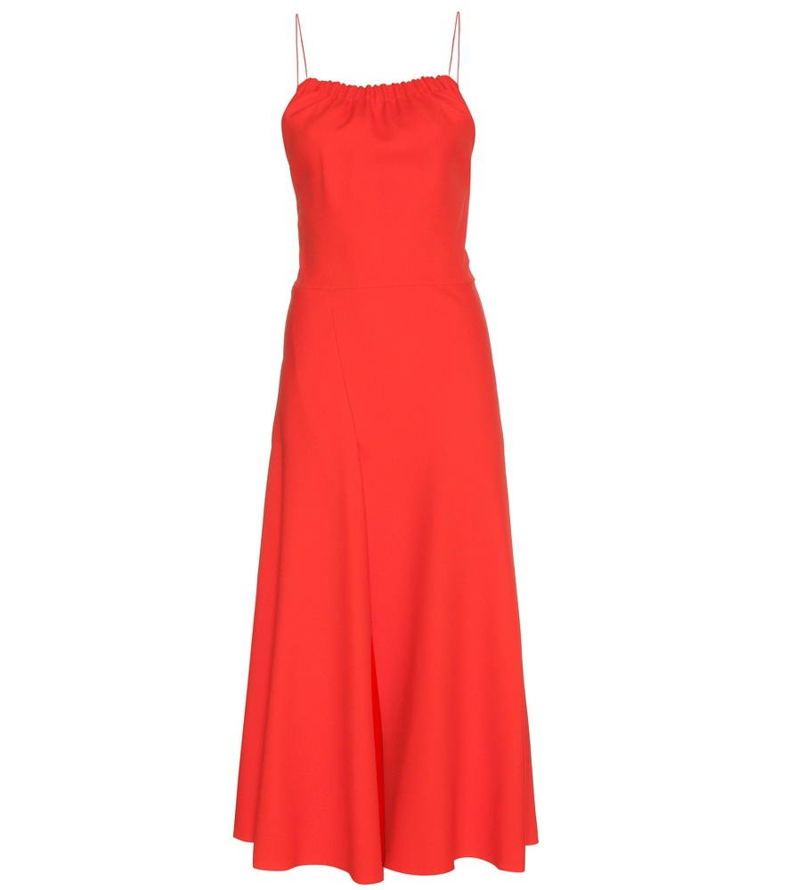 Ruched Cami Flare Dress - neckline: round neck; sleeve style: spaghetti straps; pattern: plain; style: maxi dress; predominant colour: bright orange; occasions: evening; length: floor length; fit: body skimming; sleeve length: sleeveless; pattern type: fabric; texture group: jersey - stretchy/drapey; fibres: viscose/rayon - mix; season: s/s 2016; wardrobe: event