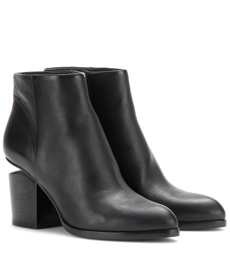 Gabi Leather Ankle Boots - predominant colour: black; occasions: casual; material: leather; heel height: mid; heel: block; toe: pointed toe; boot length: ankle boot; style: standard; finish: plain; pattern: plain; season: s/s 2016; wardrobe: basic