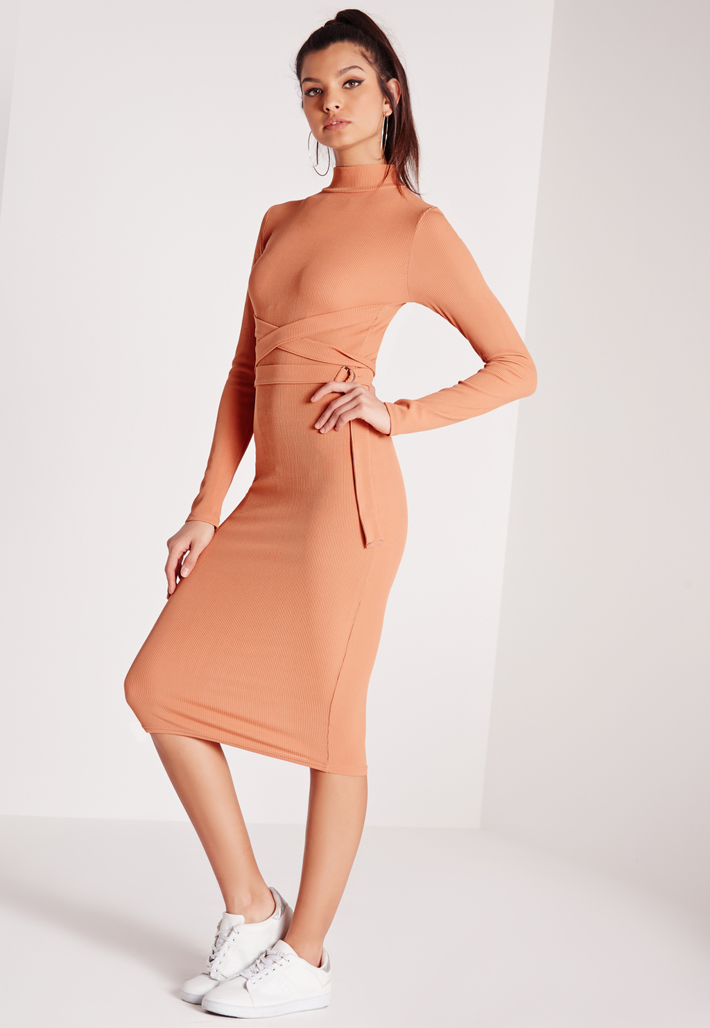 High Neck Belted Ribbed Midi Dress Pink, Salmon - length: below the knee; fit: tight; pattern: plain; style: bodycon; neckline: roll neck; waist detail: belted waist/tie at waist/drawstring; predominant colour: coral; occasions: evening; fibres: polyester/polyamide - stretch; sleeve length: long sleeve; sleeve style: standard; texture group: jersey - clingy; pattern type: fabric; season: s/s 2016; wardrobe: event