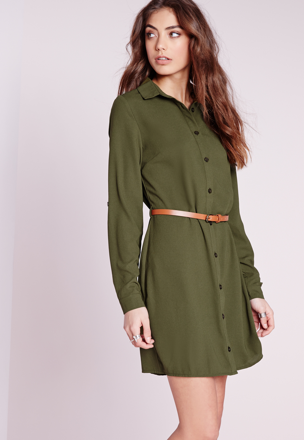 Long Sleeve Belted Shirt Dress Khaki, Beige - style: shirt; length: mid thigh; neckline: shirt collar/peter pan/zip with opening; pattern: plain; waist detail: belted waist/tie at waist/drawstring; predominant colour: khaki; occasions: casual; fit: body skimming; fibres: polyester/polyamide - 100%; sleeve length: long sleeve; sleeve style: standard; pattern type: fabric; texture group: other - light to midweight; season: s/s 2016; wardrobe: basic