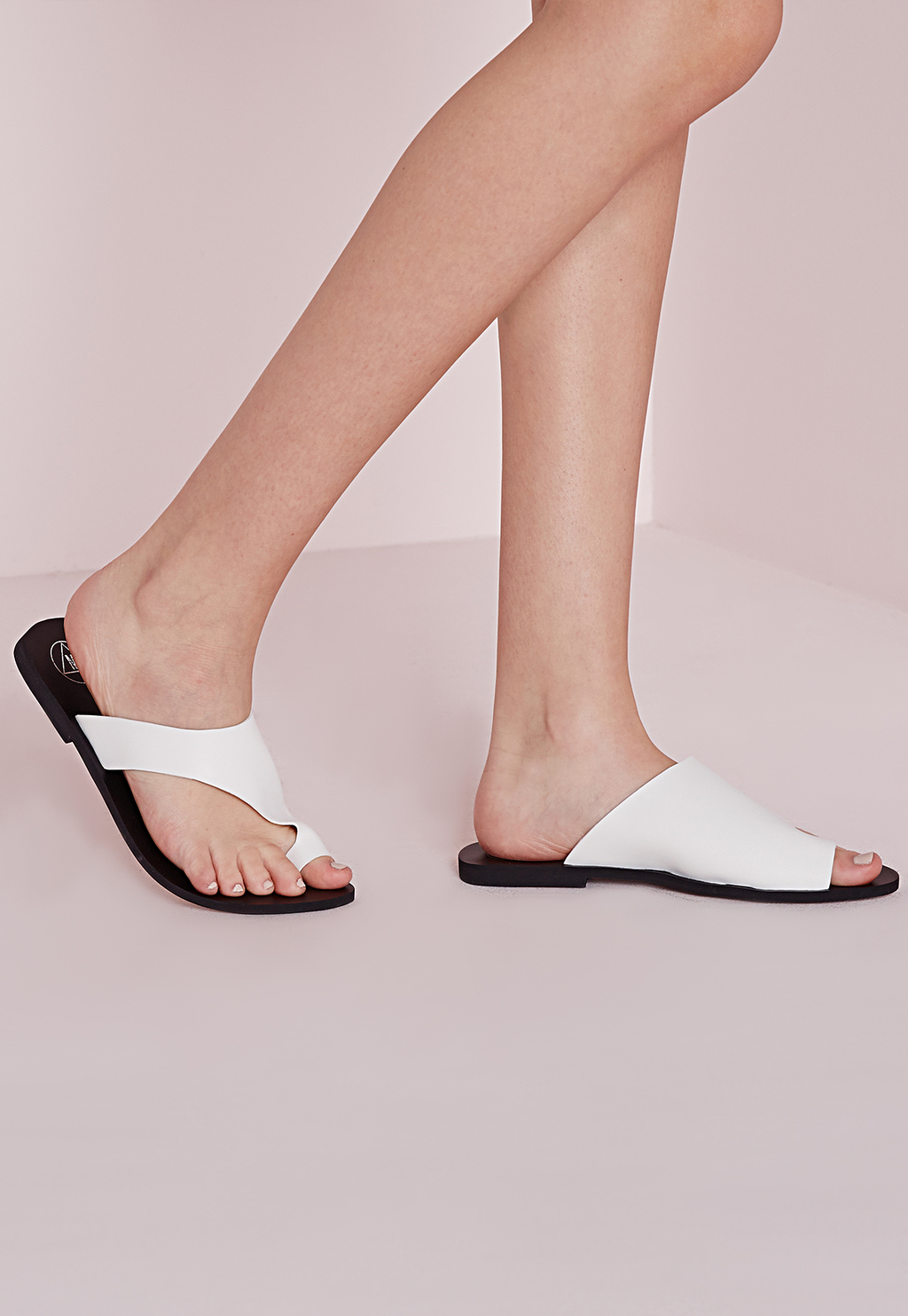 Asymmetric Toe Flat Sandals White, White - predominant colour: white; material: faux leather; heel height: flat; heel: standard; toe: toe thongs; style: slides; occasions: holiday; finish: plain; pattern: plain; season: s/s 2016