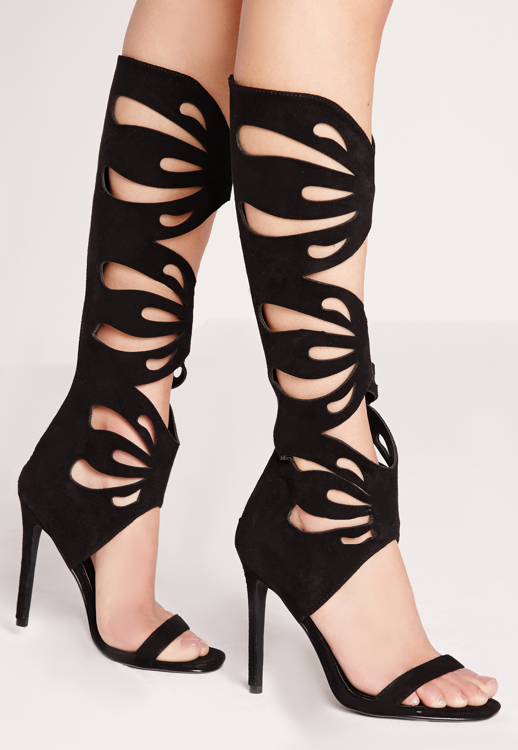 Laser Cut Knee High Gladiator Sandals Black, Black - predominant colour: black; occasions: evening, occasion; material: suede; heel height: high; ankle detail: ankle strap; heel: stiletto; toe: open toe/peeptoe; style: gladiators; finish: plain; pattern: plain; season: s/s 2016; wardrobe: event
