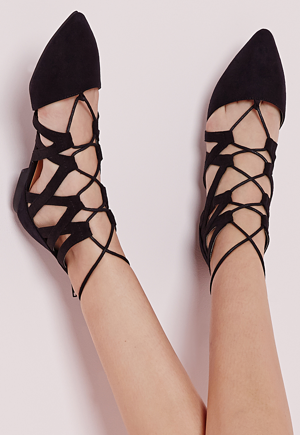 Strappy Lace Up Flat Shoes Black, Black - predominant colour: black; occasions: casual, creative work; heel height: flat; ankle detail: ankle tie; toe: pointed toe; style: ballerinas / pumps; finish: plain; pattern: plain; material: faux suede; season: s/s 2016