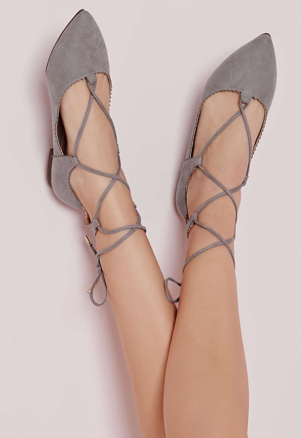 Scallop Edge Lace Up Flats Grey, Grey - predominant colour: mid grey; occasions: casual, creative work; heel height: flat; ankle detail: ankle tie; toe: pointed toe; style: ballerinas / pumps; finish: plain; pattern: plain; material: faux suede; season: s/s 2016; wardrobe: basic