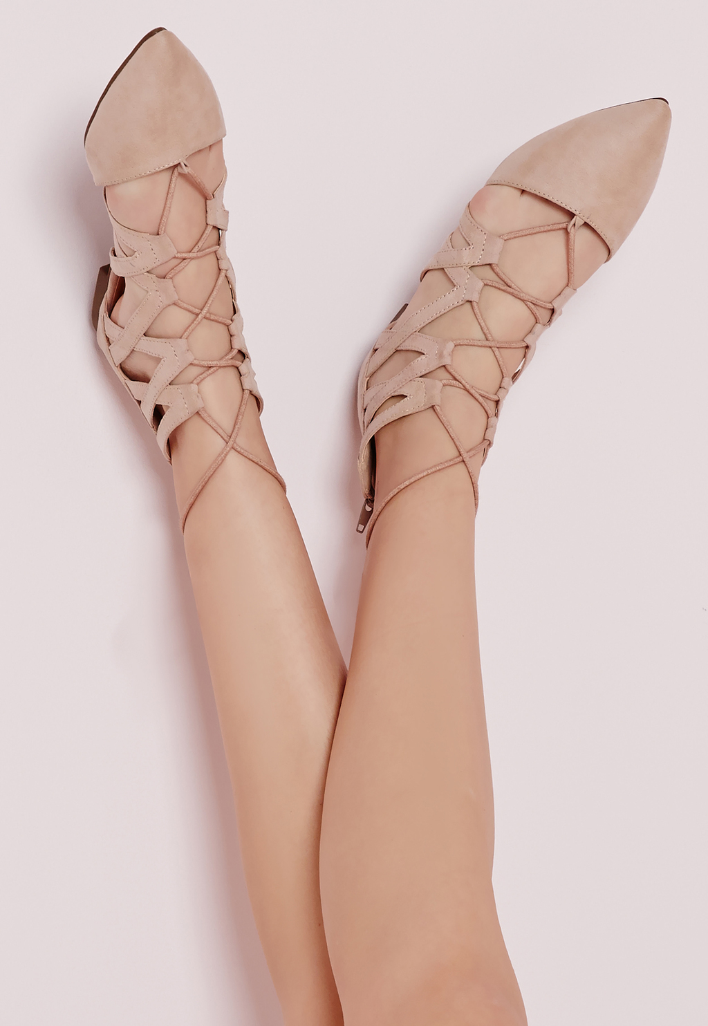 Strappy Lace Up Flat Shoes Nude, Beige - predominant colour: nude; occasions: casual, creative work; heel height: flat; ankle detail: ankle tie; toe: pointed toe; style: ballerinas / pumps; finish: plain; pattern: plain; material: faux suede; season: s/s 2016; wardrobe: basic