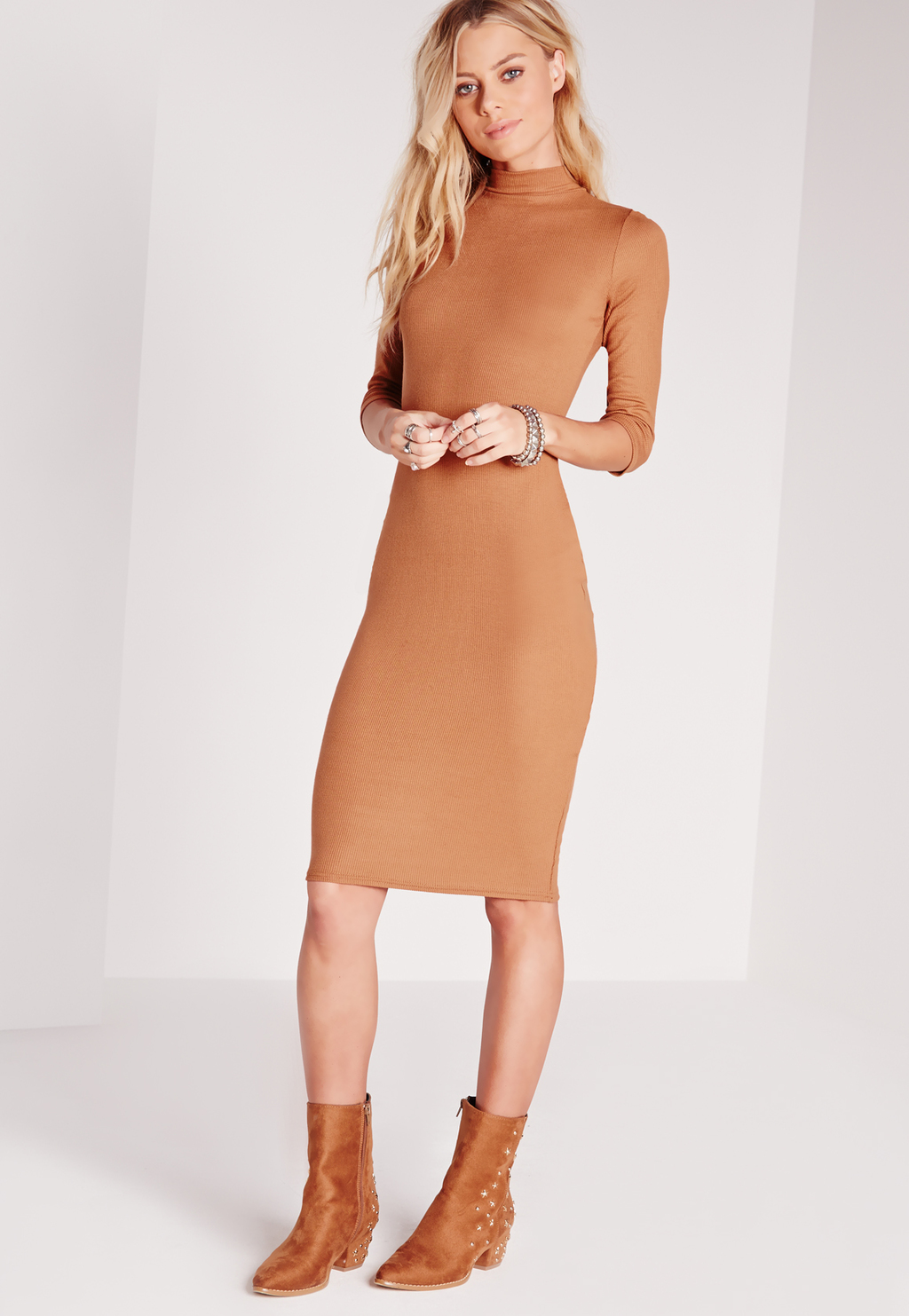 Ribbed Jersey Roll Neck Midi Dress Tan, Brown - fit: tight; pattern: plain; style: bodycon; neckline: roll neck; predominant colour: camel; occasions: casual; length: on the knee; fibres: viscose/rayon - stretch; sleeve length: long sleeve; sleeve style: standard; texture group: jersey - clingy; pattern type: fabric; season: s/s 2016; wardrobe: basic
