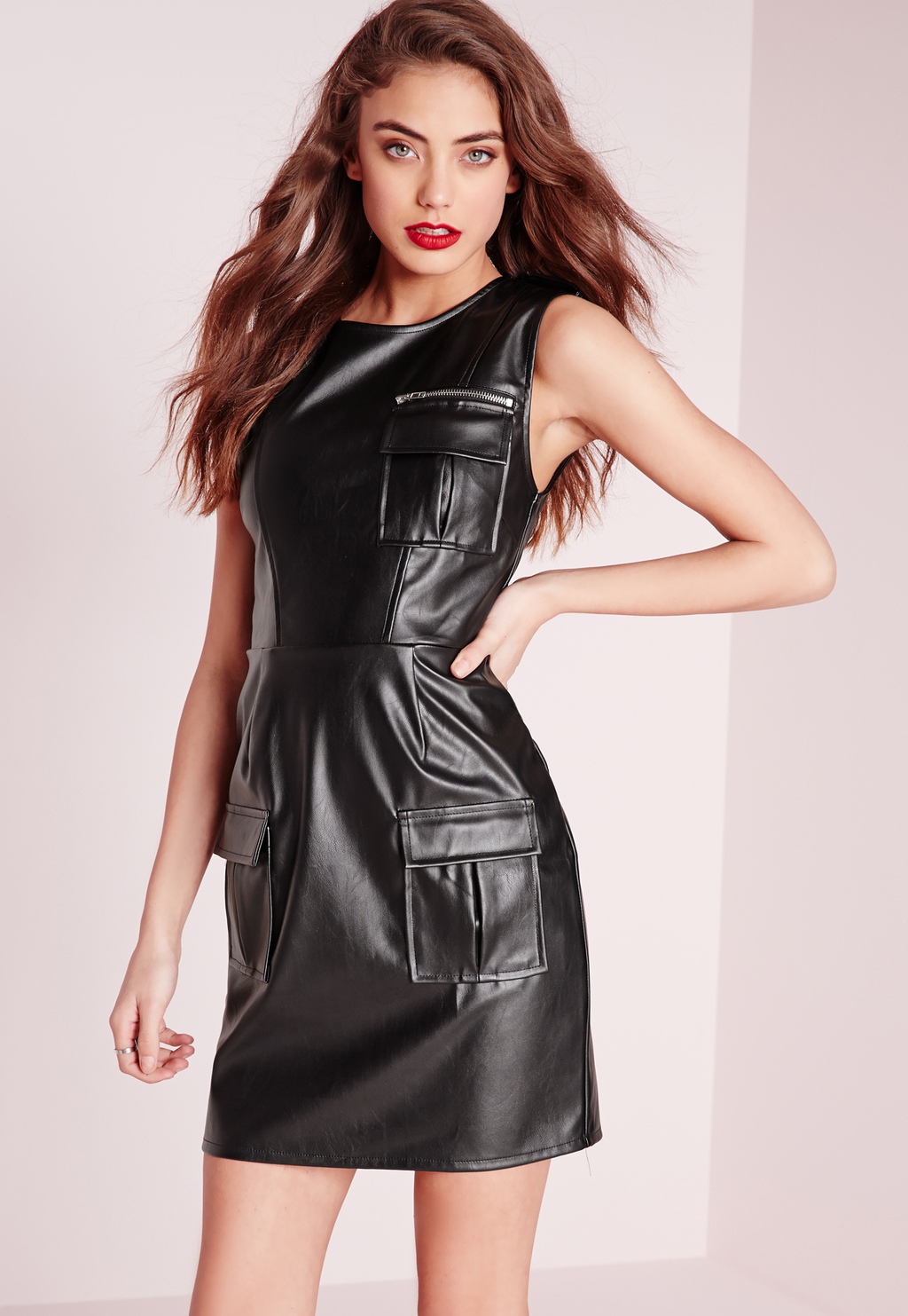 Sleeveless Pu Pocket Front Bodycon Dress Black, Black - style: shift; length: mid thigh; pattern: plain; sleeve style: sleeveless; predominant colour: black; occasions: evening; fit: body skimming; neckline: crew; sleeve length: sleeveless; texture group: leather; pattern type: fabric; fibres: pvc/polyurethene - 100%; season: s/s 2016; wardrobe: event